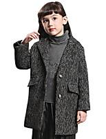 Girl's Black / Gray Jacket & Coat Cotton Spring