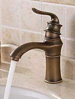 Centerset Single Handle One Hole in Antique Brass Bathroom Sink Faucet