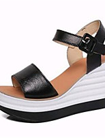 Women's Shoes Leatherette Summer Wedges / Heels Outdoor / Casual Wedge Heel Buckle Black / White