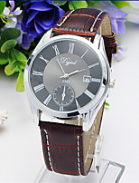 Men's Fashion Watch Quartz Genuine Leather Band Casual White Brown