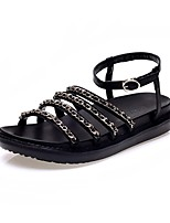 Women's Shoes Leather Flat Heel Peep Toe Sandals Wedding / Office & Career / Party & Evening / Dress / Casual Black