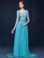 Formal Evening Dress-Pool Sheath/Column Scoop Sweep/Brush Train Chiffon / Tulle