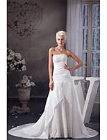A-라인 웨딩 드레스 코트 트레인 끈없는 스타일 태피터 와 아플리케 / 비즈 / 장식주름