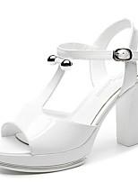 Women's Shoes Leatherette Chunky Heel Peep Toe Sandals Wedding / Office & Career / Dress White / Silver