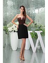 Cocktail Party Dress Sheath / Column Strapless Short / Mini Stretch Satin with
