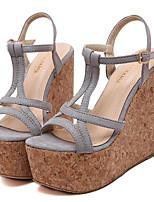 Chaussures Femme-Extérieure / Décontracté-Noir / Rose / Gris-Talon Compensé-Compensées / Talons-Sandales-Laine synthétique