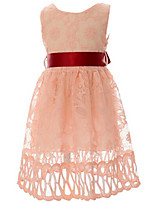 Girl's Pink / White Dress Polyester Summer / Spring