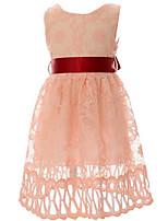 Vestido Chica de-Verano / Primavera-Poliéster-Rosa / Blanco