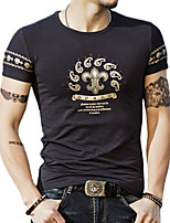Summer Plus Sizes Men's Fashion Printing T-Shirt Round Neck Short Sleeve Casual Tops
