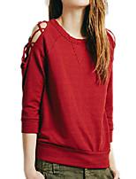 Hoodies Aux femmes Décontracté / Quotidien Simple Couleur Pleine Rouge Coton