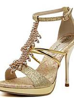 Women's Shoes Cashmere Stiletto Heel Heels / Open Toe Sandals Outdoor / Casual Gold