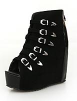 Zapatos de mujer-Plataforma-Punta Abierta / Plataforma / Creepers / Botines-Botas-Exterior / Fiesta y Noche-PU-Negro