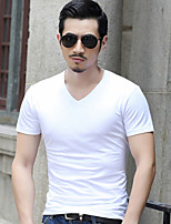 Men's Fashion All Match Slim Classic Short Sleeve T-Shirt, V Neck Casual Solid