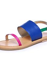 Chaussures Femme-Extérieure / Habillé / Décontracté-Bleu-Talon Plat-Bout Ouvert / Gladiateur-Sandales-Poils
