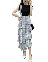 Women's Print Blue / Red Skirts,Boho Maxi