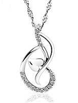 2016 Elegant Women Favourite Crystal Jewelry Real 925 Silver Double Hearts Pendant With Rhinestones Classic Necklace