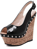 Women's Shoes Leatherette Wedge Heel Wedges / Peep Toe / Round Toe Sandals Casual Black