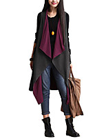 Women's Casual/Daily Simple Cloak/Capes,Color Block Asymmetrical Sleeveless Spring Gray Cotton Thin