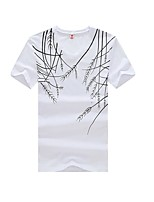 Print-Informeel-Heren-Katoen-T-shirt-Korte mouw Zwart / Wit / Grijs