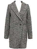 Women's Casual/Daily Simple Pea Coats,Houndstooth Long Sleeve Gray Wool