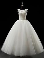 웨딩 드레스-화이트 볼 가운 바닥 길이 스쿱 튤
