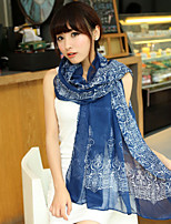 Korean Version Of The Fall And Winter Female Retro Print Blue And White Scarves Chiffon Long Section Scarf