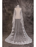 Wedding Veil One-tier Cathedral Veils Cut Edge / Lace Applique Edge