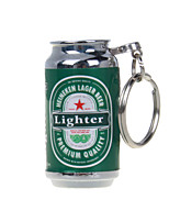 cerveza mini-encendedores de conjunto de claves, llama abierta encendedores de gas inflable verde