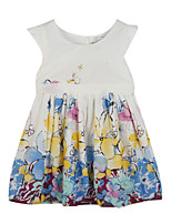 Girl's Casual/Daily Floral Dress,Cotton Summer Blue / Green