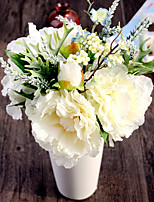 Silk White Champagne Peonies and Hydrangea Artificial Flowers 1pc/set