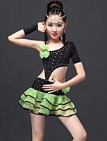 Latin Dance Outfits Children's Performance Viscose Draped 3 Pieces Fuchsia / Green / Royal Blue Latin Dance Gloves / Skirt / Top