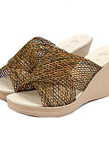 Women's Shoes Cross Weave Wedge Heel Peep Toe / Platform / Slingback / Comfort Sandals Casual Black / White / Khaki
