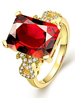 2016 New 18K Gold Plated Inlaid Crystal Wedding Red Zircon Women Ring