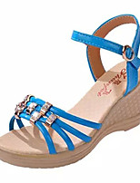 Women's Shoes Leatherette Wedge Heel Wedges Sandals Outdoor / Office & Career / Dress Black / Blue / Pink / White