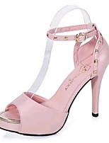 Chaussures Femme-Soirée & Evénement-Rose / Blanc-Talon Aiguille-Talons / Bout Ouvert-Sandales-Similicuir