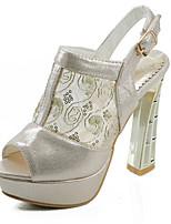 Chaussures Femme-Habillé / Décontracté / Soirée & Evénement-Blanc / Argent / Or-Gros Talon-Talons / Bout Ouvert / A Plateau / A Bride