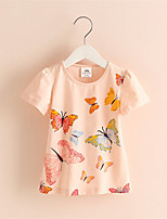 Girl's Pink White Yellow Tee Animal Butterfly Print Cotton T-shirt Summer Style