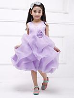 A-line Knee-length Flower Girl Dress-Organza / Satin Sleeveless