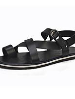 Zapatos de Hombre-Sandalias-Casual-Semicuero-Negro / Blanco