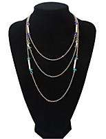 Hot Selling Fashion New Vintage Style Multi-layer Women Multi-Chain Tassel Necklace Long Chain with Rhinestone