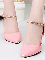 Zapatos de mujer-Tacón Bajo-Tacones-Tacones-Exterior / Casual-Tul / Semicuero-Negro / Rosa