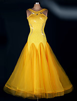 Ballroom Dance Dresses Women's Performance Spandex Draped 1 Piece Yellow Modern Dance