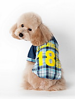 Dog Shirt / Clothes/Clothing Blue / Pink Summer Plaid/Check / Letter & Number Plaid-Lovoyager
