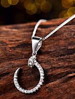 Super Flash 2016 Trendy Moon Necklace Real 925 Sterling Silver Pendant Round Rhinestone Zircon Women Fine Jewelry
