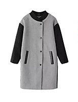 Women's Color Block Gray Coat,Simple Long Sleeve Nylon