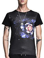 Summer Plus Sizes Men's Round Neck Short Sleeve Printing T-Shirt Slim Casual Tops