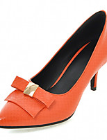 Women's Shoes Leatherette Stiletto Heel Heels Heels Outdoor / Office & Career / Dress Black / Beige / Orange