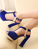 Chaussures Femme-Extérieure / Habillé / Décontracté-Noir / Bleu / Rouge-Gros Talon-Bout Ouvert-Sandales-Similicuir