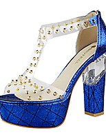 Women's Shoes AmiGirl 2016 Wedding/Party/Dress Royal Blue/Black/Red/Champagne Chunky Heel Sexy Sandals