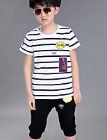 Boy's Round Collar Short Sleeve Casual Stripe Print Cotton Clothing Set (Tee & Pants)
